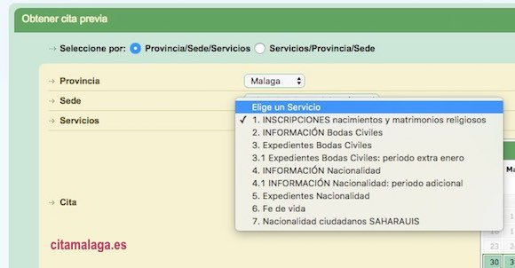 cita previa en el Registro Civil de Málaga para Nacimientos, Bodas, Nacionalidad y Fé de vida